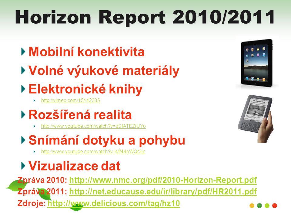 Horizon Report 2010/2011 Mobilní konektivita Volné výukové materiály Elektronické knihy http://vimeo.com/15142335 Rozšířená realita http://www.youtube