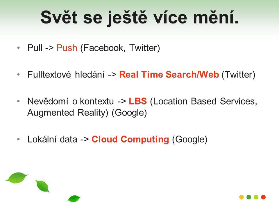 Svět se ještě více mění. Pull -> Push (Facebook, Twitter) Fulltextové hledání -> Real Time Search/Web (Twitter) Nevědomí o kontextu -> LBS (Location B