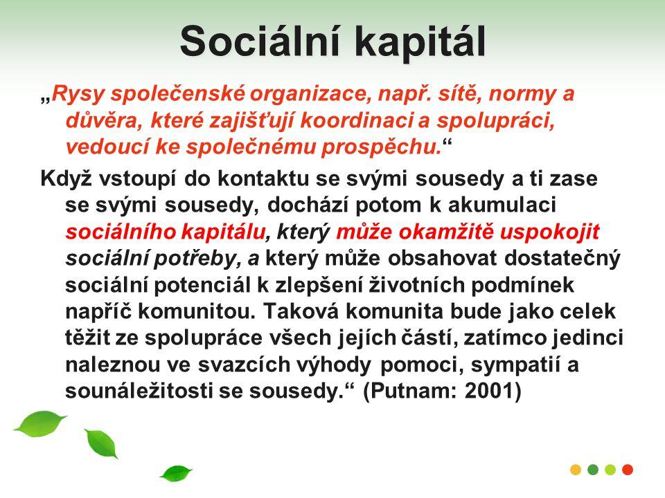 """Sociální kapitál """"Rysy společenské organizace, např. sítě, normy a důvěra, které zajišťují koordinaci a spolupráci, vedoucí ke společnému prospěchu."""""""