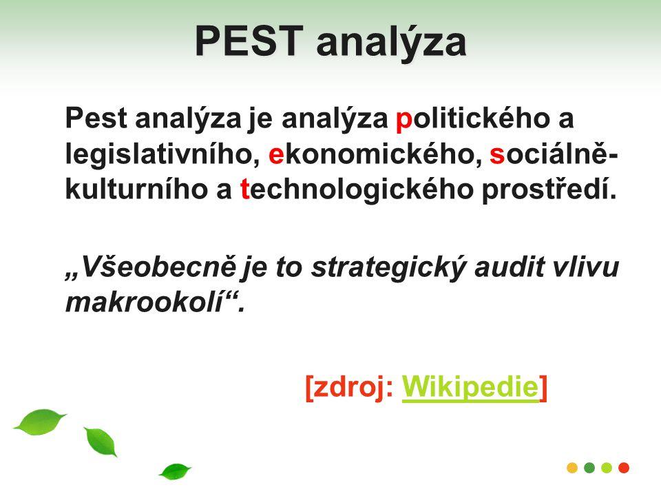 """PEST analýza Pest analýza je analýza politického a legislativního, ekonomického, sociálně- kulturního a technologického prostředí. """"Všeobecně je to st"""