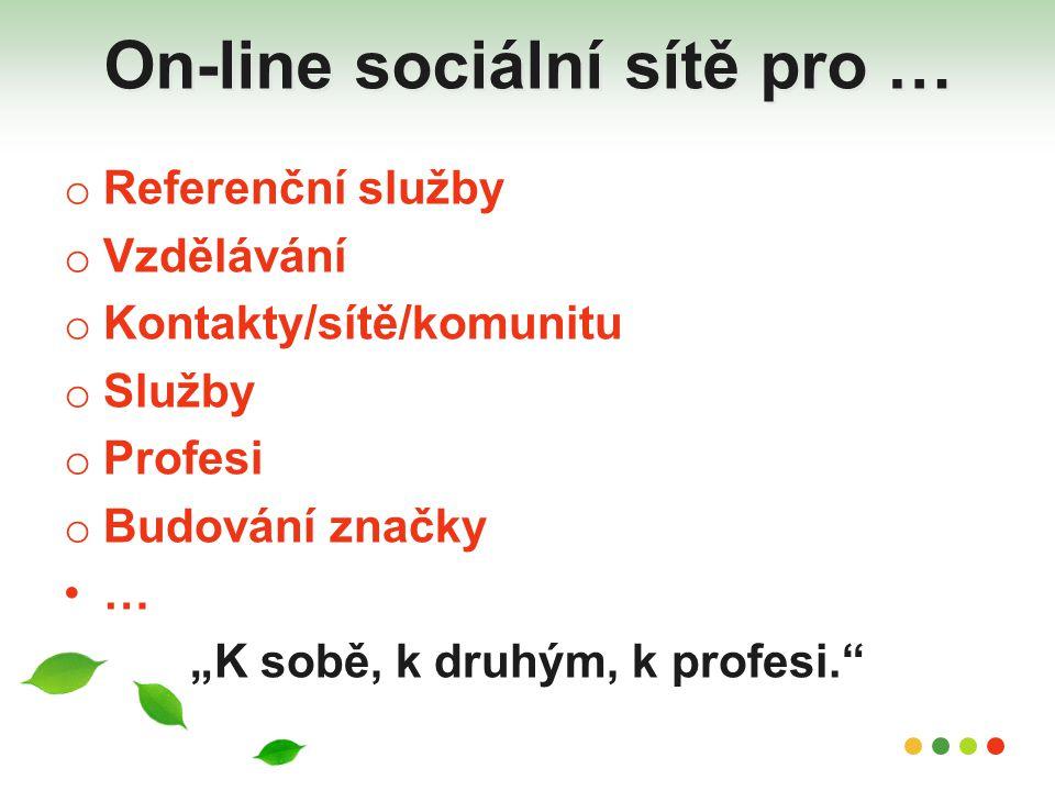 """On-line sociální sítě pro … o Referenční služby o Vzdělávání o Kontakty/sítě/komunitu o Služby o Profesi o Budování značky … """"K sobě, k druhým, k prof"""