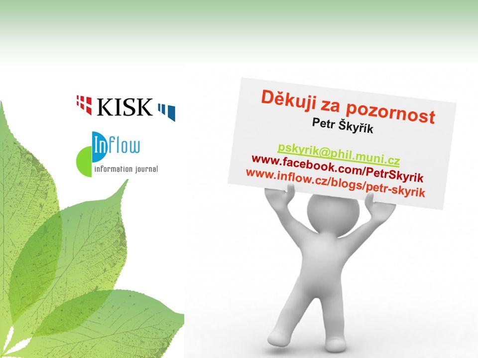 Děkuji za pozornost Petr Škyřík pskyrik@phil.muni.cz www.facebook.com/PetrSkyrik www.inflow.cz/blogs/petr-skyrik