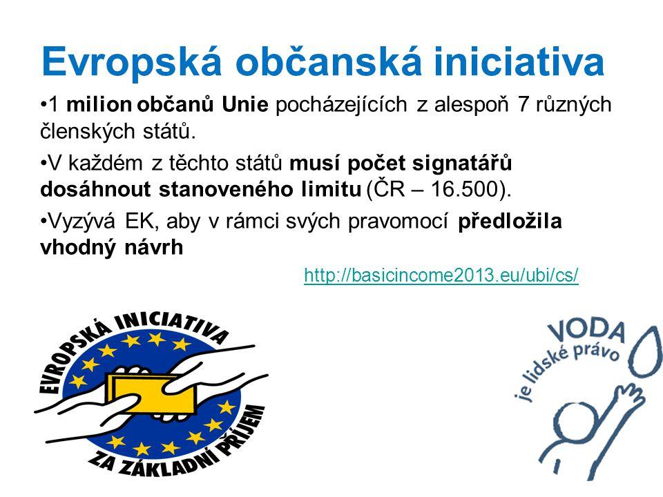 Evropská občanská iniciativa 1 milion občanů Unie pocházejících z alespoň 7 různých členských států.