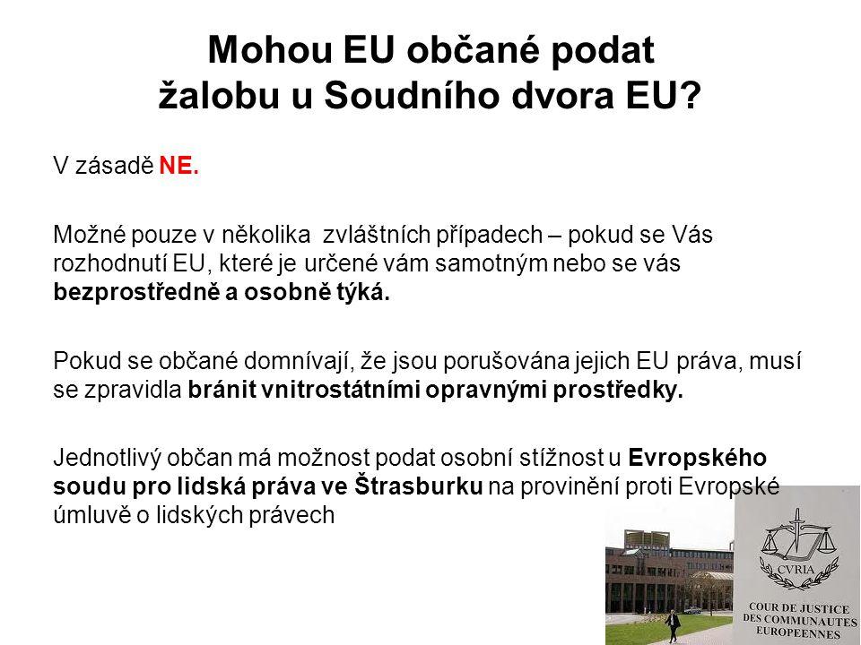 Mohou EU občané podat žalobu u Soudního dvora EU. V zásadě NE.