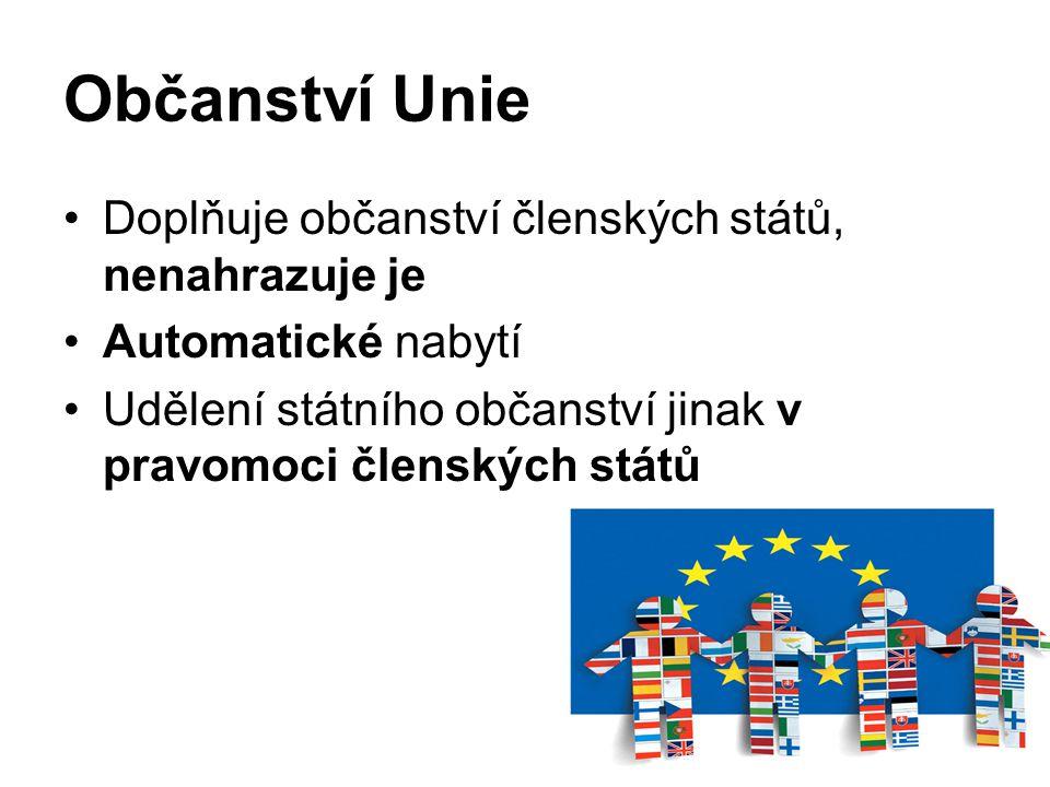 Občanství Unie Doplňuje občanství členských států, nenahrazuje je Automatické nabytí Udělení státního občanství jinak v pravomoci členských států