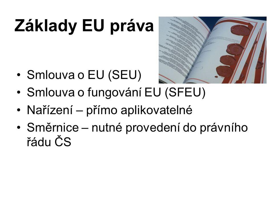 Základy EU práva Smlouva o EU (SEU) Smlouva o fungování EU (SFEU) Nařízení – přímo aplikovatelné Směrnice – nutné provedení do právního řádu ČS