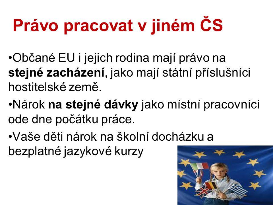 Právo pracovat v jiném ČS Občané EU i jejich rodina mají právo na stejné zacházení, jako mají státní příslušníci hostitelské země.