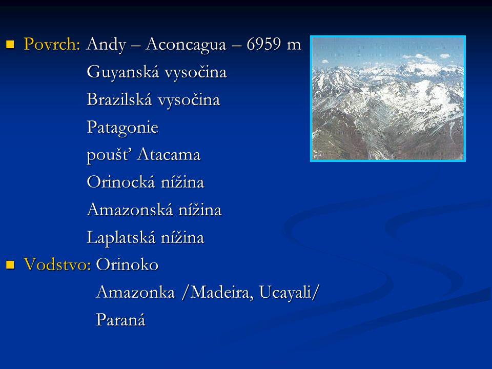 Povrch: Andy – Aconcagua – 6959 m Povrch: Andy – Aconcagua – 6959 m Guyanská vysočina Guyanská vysočina Brazilská vysočina Brazilská vysočina Patagonie Patagonie poušť Atacama poušť Atacama Orinocká nížina Orinocká nížina Amazonská nížina Amazonská nížina Laplatská nížina Laplatská nížina Vodstvo: Orinoko Vodstvo: Orinoko Amazonka /Madeira, Ucayali/ Amazonka /Madeira, Ucayali/ Paraná Paraná
