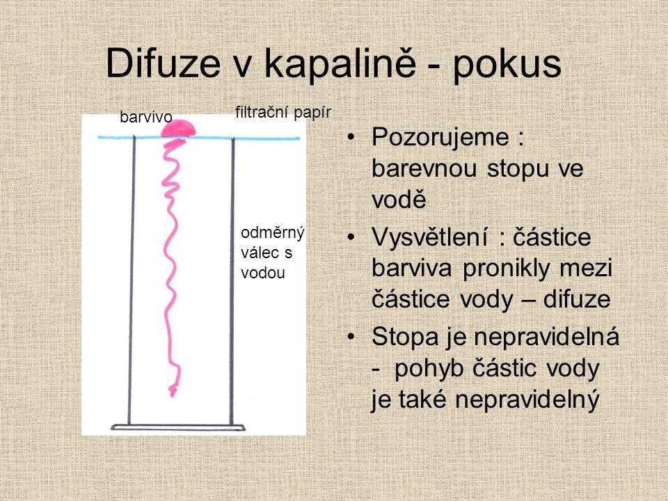 Difuze v kapalině - pokus Pozorujeme : barevnou stopu ve vodě Vysvětlení : částice barviva pronikly mezi částice vody – difuze Stopa je nepravidelná - pohyb částic vody je také nepravidelný barvivo odměrný válec s vodou filtrační papír