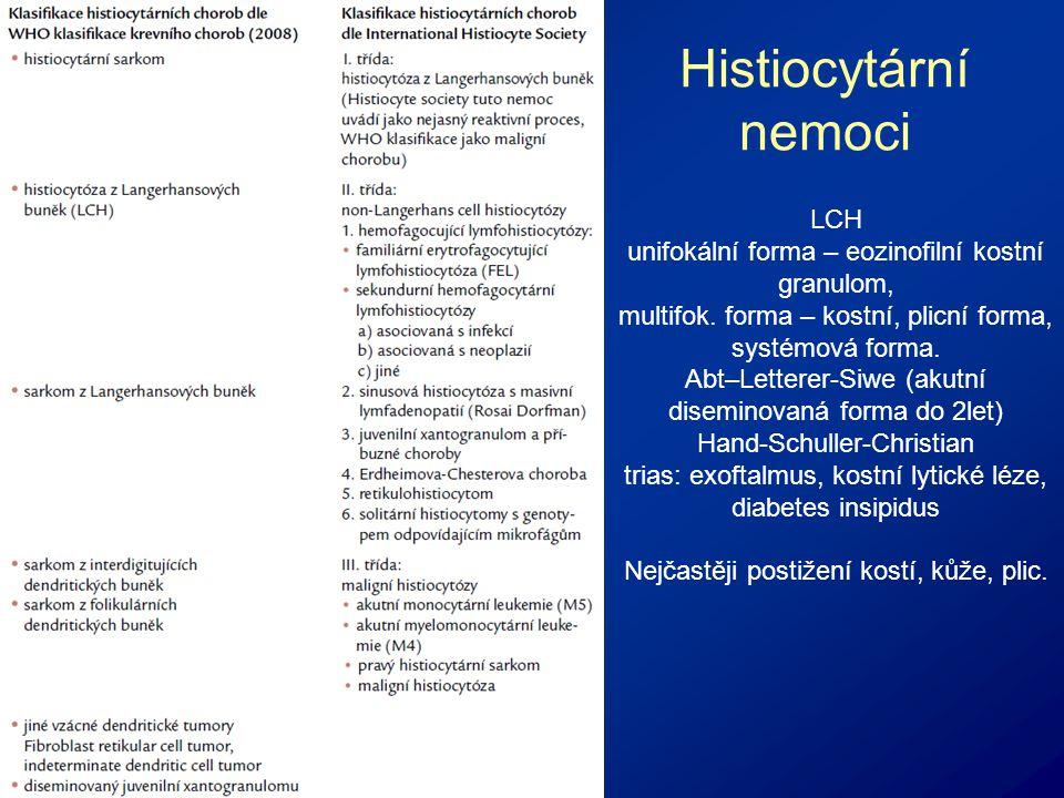 Histiocytární nemoci LCH unifokální forma – eozinofilní kostní granulom, multifok.