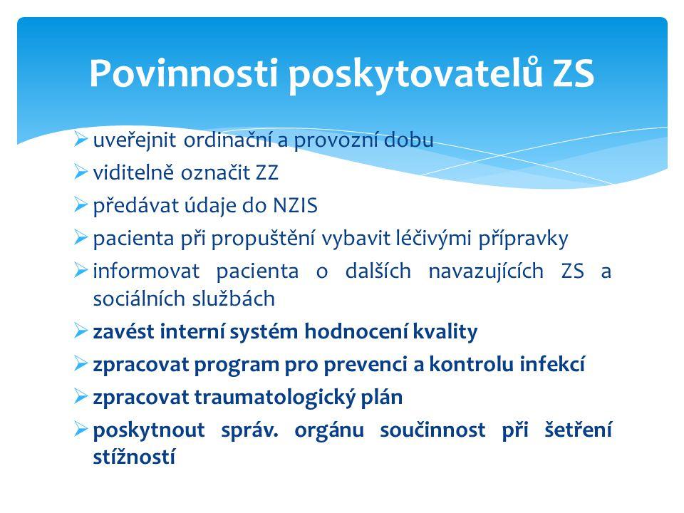  uveřejnit ordinační a provozní dobu  viditelně označit ZZ  předávat údaje do NZIS  pacienta při propuštění vybavit léčivými přípravky  informova