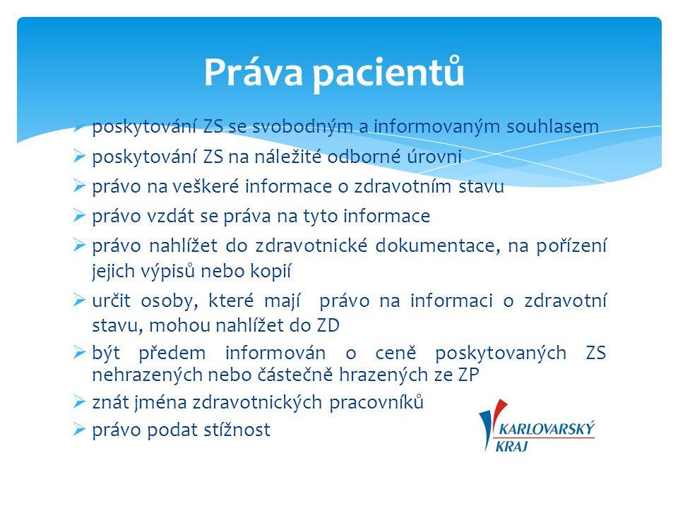  poskytování ZS se svobodným a informovaným souhlasem  poskytování ZS na náležité odborné úrovni  právo na veškeré informace o zdravotním stavu  p
