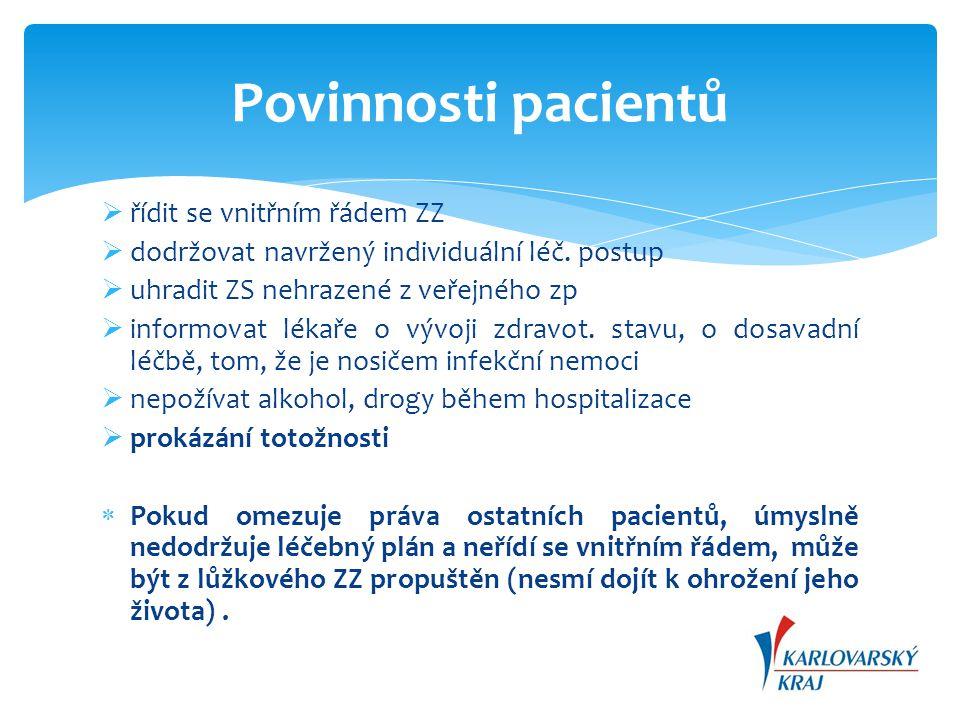  poskytovat ZS pouze v souladu s oprávněním k poskytování ZS a na náležité odborné úrovni  zajistit informovanost pacientů o jejich právech a povinnostech  zpracovat seznam cen za výkony nehrazené ze ZP a částečně hrazených z ZP + umístit jej tak, aby byl přístupný pacientům  vést zdravotnickou dokumentaci v souladu s právními předpisy  zachovat mlčenlivost (prolomení)  zajistit předávání informací o zdravotním stavu pacienta mezi jednotlivými poskytovateli Povinnosti poskytovatelů ZS