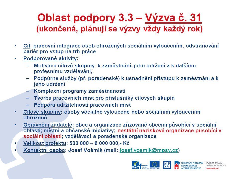 Oblast podpory 3.3 – Výzva č. 31 (ukončená, plánují se výzvy vždy každý rok) Cíl: pracovní integrace osob ohrožených sociálním vyloučením, odstraňován