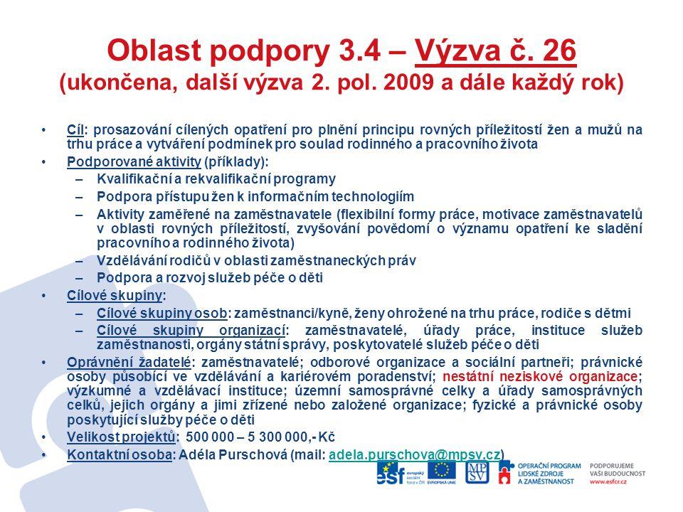 Oblast podpory 3.4 – Výzva č. 26 (ukončena, další výzva 2. pol. 2009 a dále každý rok) Cíl: prosazování cílených opatření pro plnění principu rovných