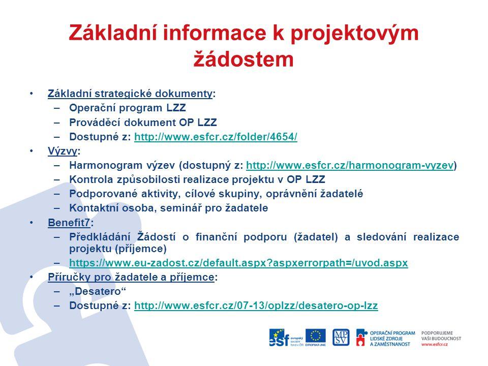 Základní informace k projektovým žádostem Základní strategické dokumenty: –Operační program LZZ –Prováděcí dokument OP LZZ –Dostupné z: http://www.esf
