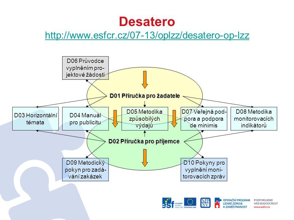 Desatero http://www.esfcr.cz/07-13/oplzz/desatero-op-lzz http://www.esfcr.cz/07-13/oplzz/desatero-op-lzz D02 Příručka pro příjemce D01 Příručka pro ža