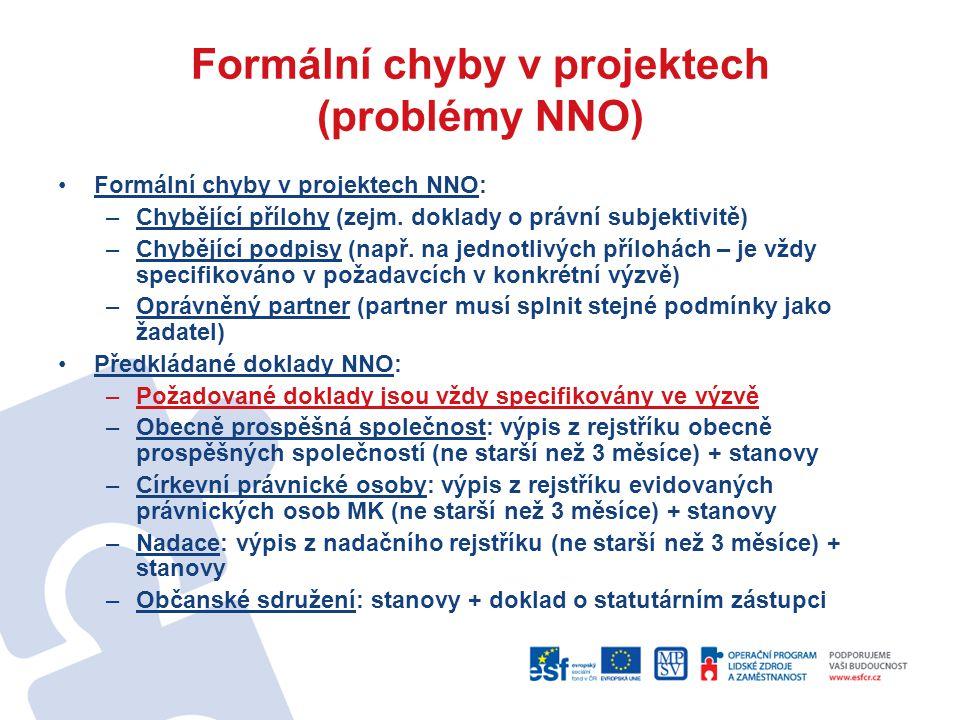 Formální chyby v projektech (problémy NNO) Formální chyby v projektech NNO: –Chybějící přílohy (zejm. doklady o právní subjektivitě) –Chybějící podpis