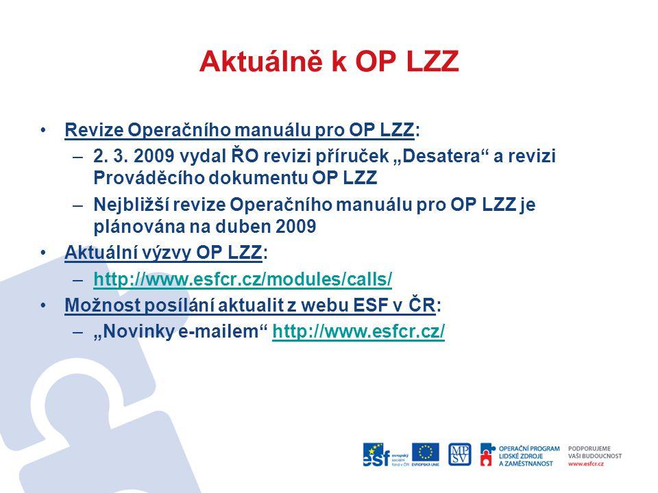 """Aktuálně k OP LZZ Revize Operačního manuálu pro OP LZZ: –2. 3. 2009 vydal ŘO revizi příruček """"Desatera"""" a revizi Prováděcího dokumentu OP LZZ –Nejbliž"""