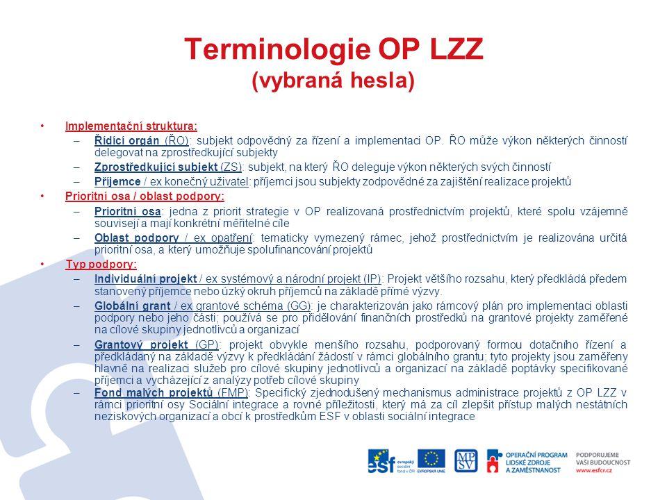 Terminologie OP LZZ (vybraná hesla) Implementační struktura: –Řídící orgán (ŘO): subjekt odpovědný za řízení a implementaci OP. ŘO může výkon některýc
