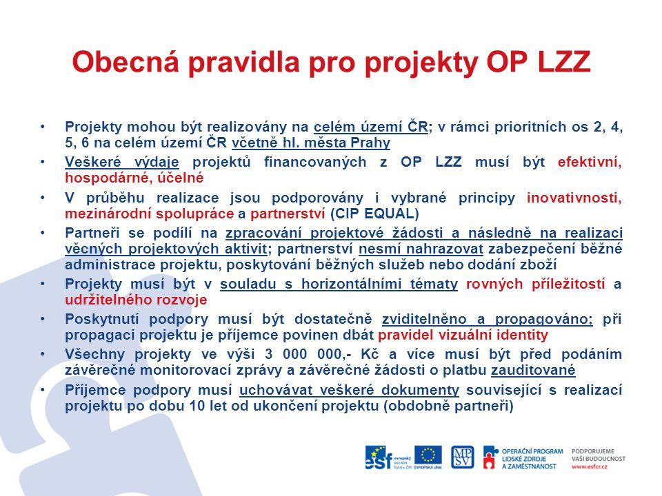 Obecná pravidla pro projekty OP LZZ Projekty mohou být realizovány na celém území ČR; v rámci prioritních os 2, 4, 5, 6 na celém území ČR včetně hl. m