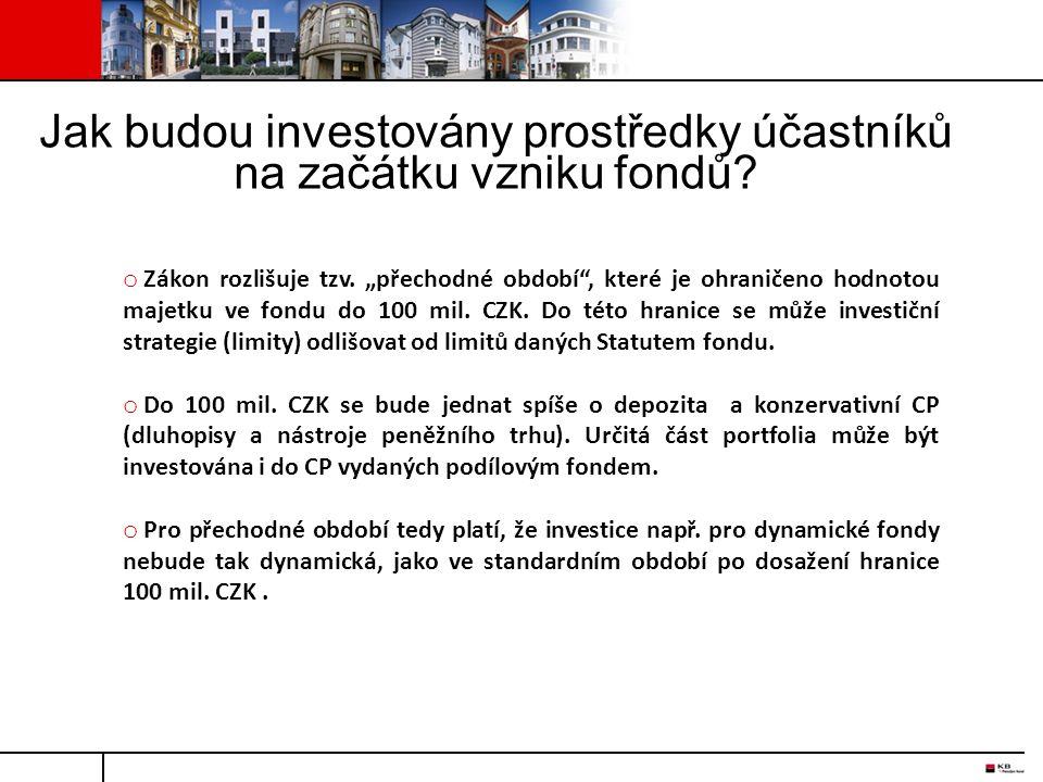"""Jak budou investovány prostředky účastníků na začátku vzniku fondů? o Zákon rozlišuje tzv. """"přechodné období"""", které je ohraničeno hodnotou majetku ve"""