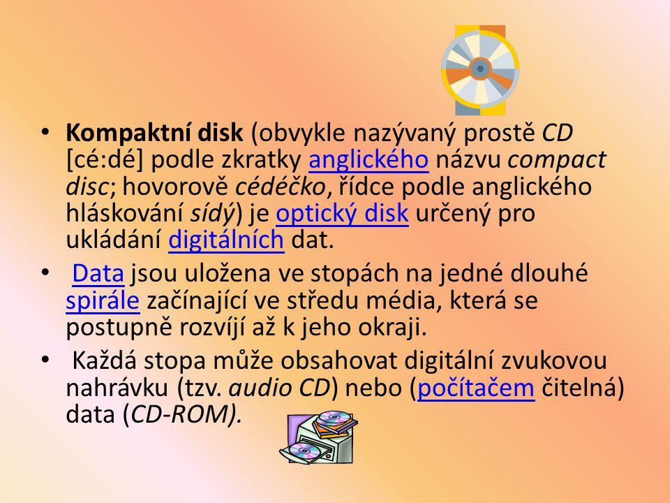 Na rozdíl od většiny diskových zařízení (pružné disky, pevné disky, ZIP disky, magnetooptické disky apod.) nejsou data ukládána do soustředných kružnic, ale do jedné dlouhé spirály podobně jako na gramofonové desce.pružné diskypevné diskyZIP diskymagnetooptické diskykružnicgramofonové desce Spirála začíná u středu média a rozvíjí se postupně až k jeho okraji.