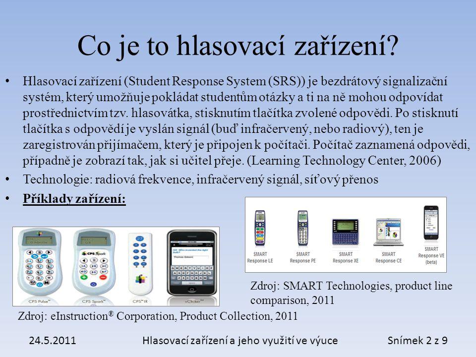 Vybrané hlasovací zařízení systém Interwrite CPS IR, typ IW CPS IR 32, tedy Classroom Performance System s 32 kusy hlasovátek.