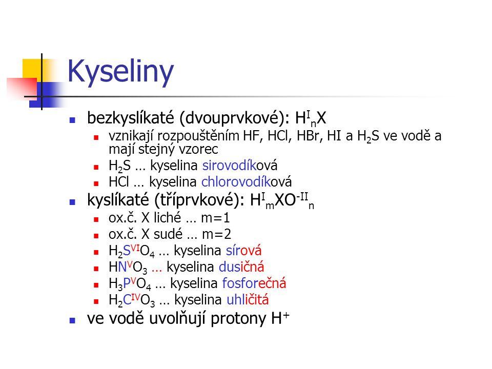 Kyseliny bezkyslíkaté (dvouprvkové): H I n X vznikají rozpouštěním HF, HCl, HBr, HI a H 2 S ve vodě a mají stejný vzorec H 2 S … kyselina sirovodíková