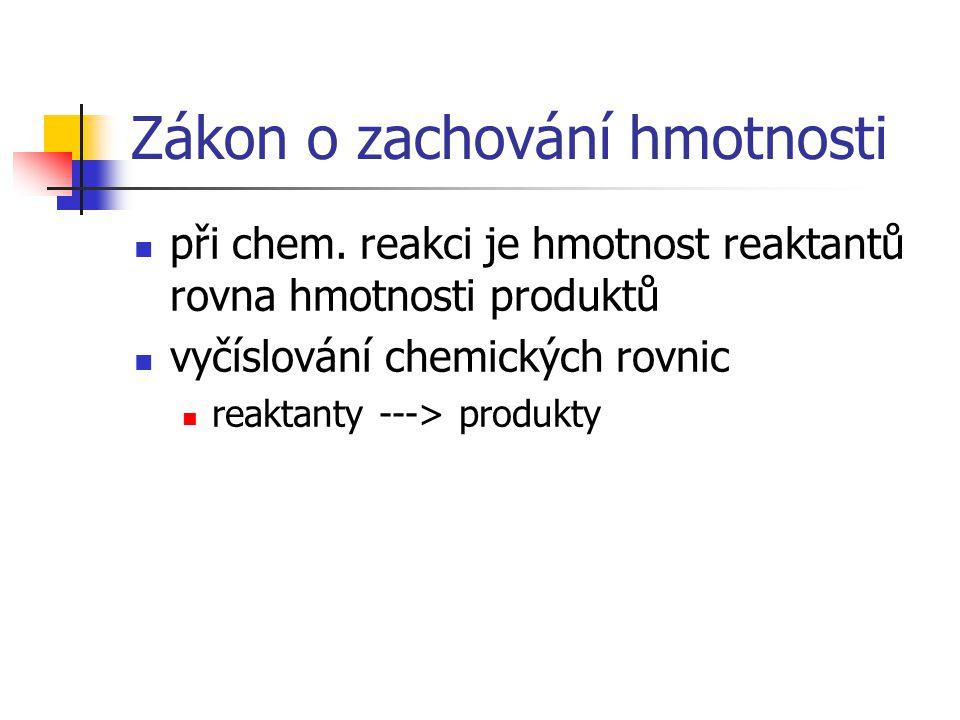 Zákon o zachování hmotnosti při chem. reakci je hmotnost reaktantů rovna hmotnosti produktů vyčíslování chemických rovnic reaktanty ---> produkty