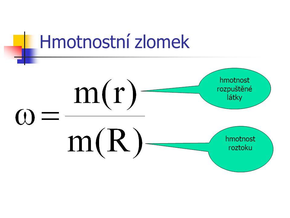 Hmotnostní zlomek hmotnost rozpuštěné látky hmotnost roztoku