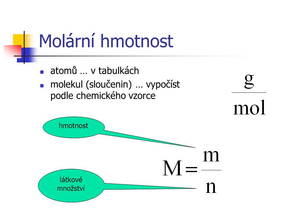 Molární hmotnost atomů … v tabulkách molekul (sloučenin) … vypočíst podle chemického vzorce hmotnost látkové množství