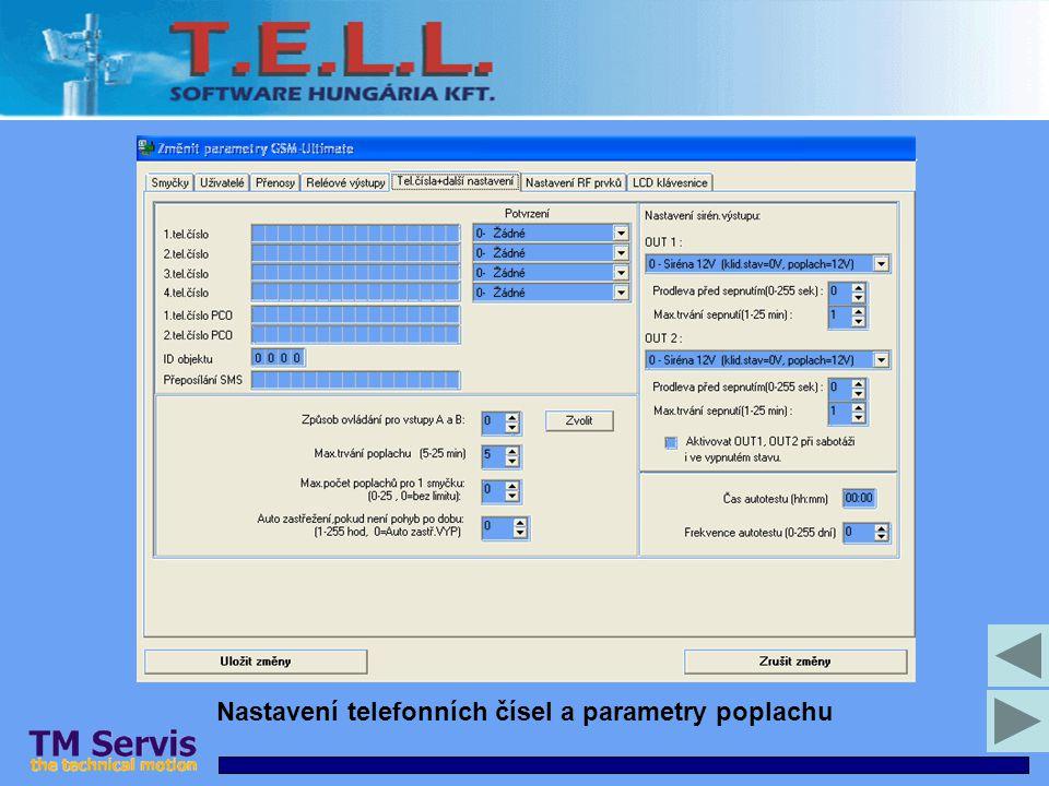 Nastavení telefonních čísel a parametry poplachu