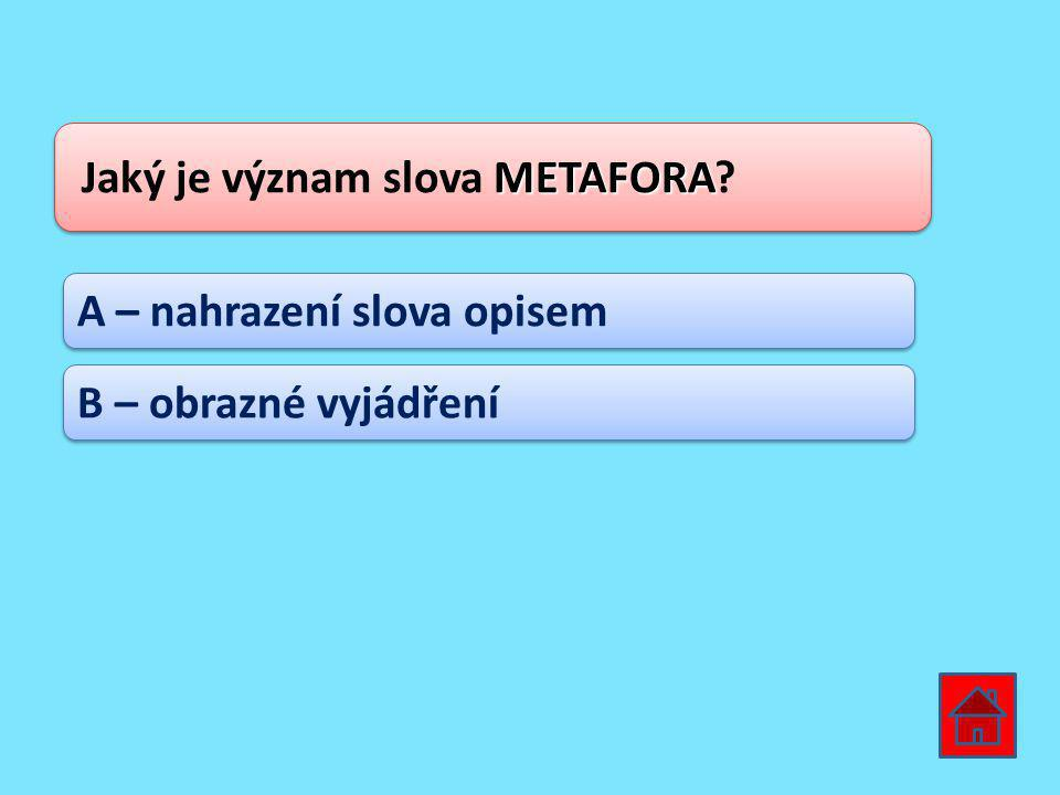 METAFORA Jaký je význam slova METAFORA? A – nahrazení slova opisem B – obrazné vyjádření