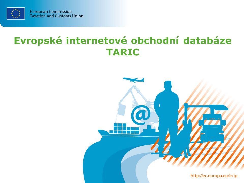 Evropské internetové obchodní databáze TARIC