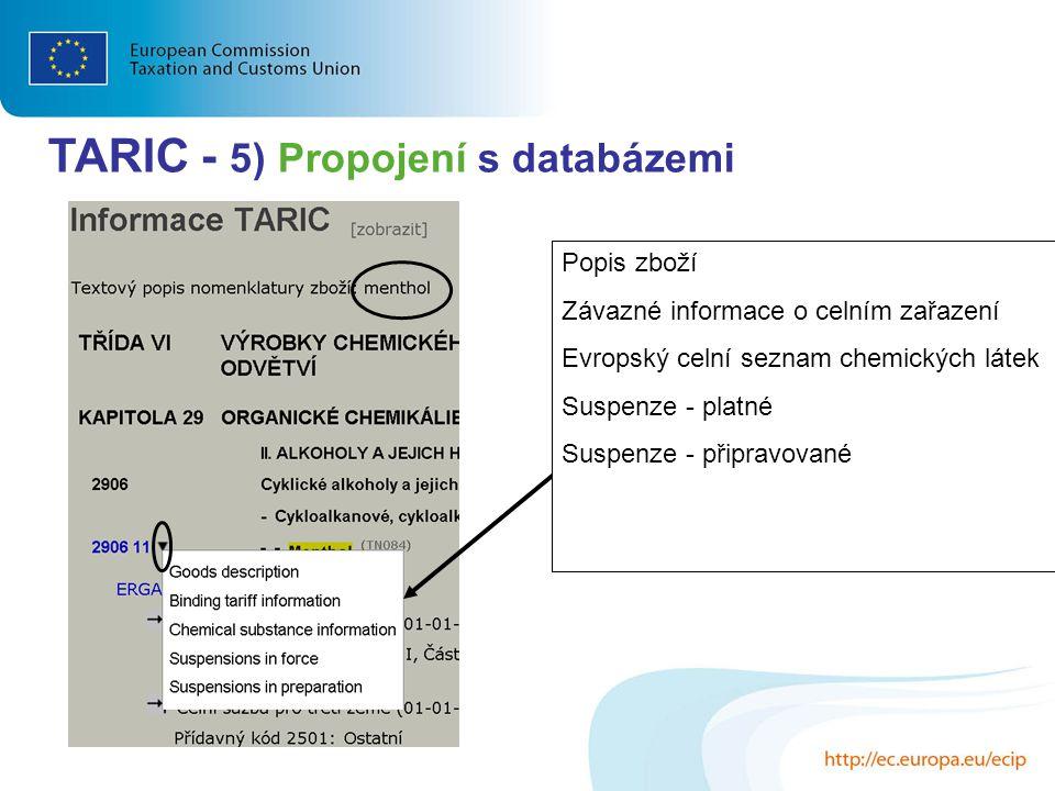 TARIC - 5) Propojení s databázemi Popis zboží Závazné informace o celním zařazení Evropský celní seznam chemických látek Suspenze - platné Suspenze -