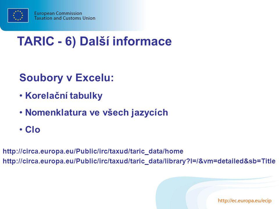 http://circa.europa.eu/Public/irc/taxud/taric_data/home http://circa.europa.eu/Public/irc/taxud/taric_data/library?l=/&vm=detailed&sb=Title Soubory v
