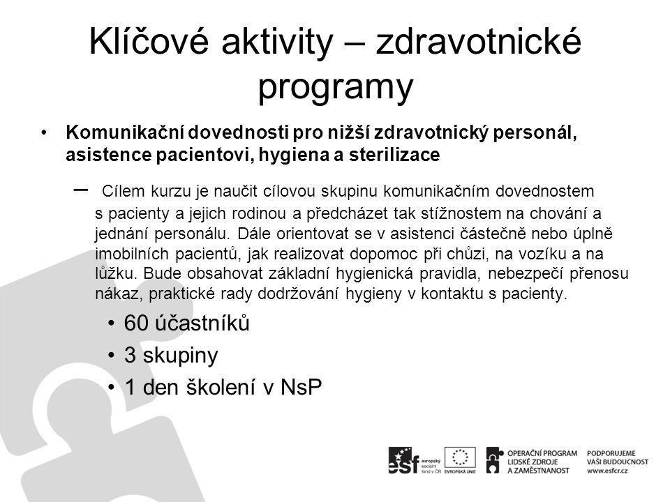 Klíčové aktivity – zdravotnické programy Komunikační dovednosti pro nižší zdravotnický personál, asistence pacientovi, hygiena a sterilizace – Cílem k