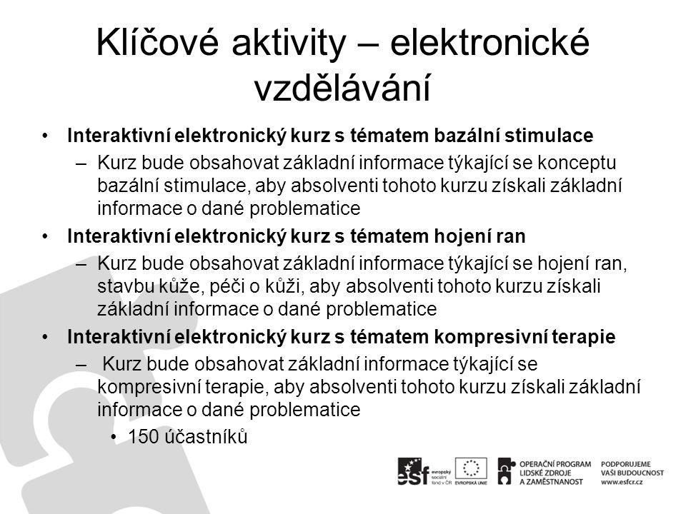 Klíčové aktivity – elektronické vzdělávání Interaktivní elektronický kurz s tématem bazální stimulace –Kurz bude obsahovat základní informace týkající