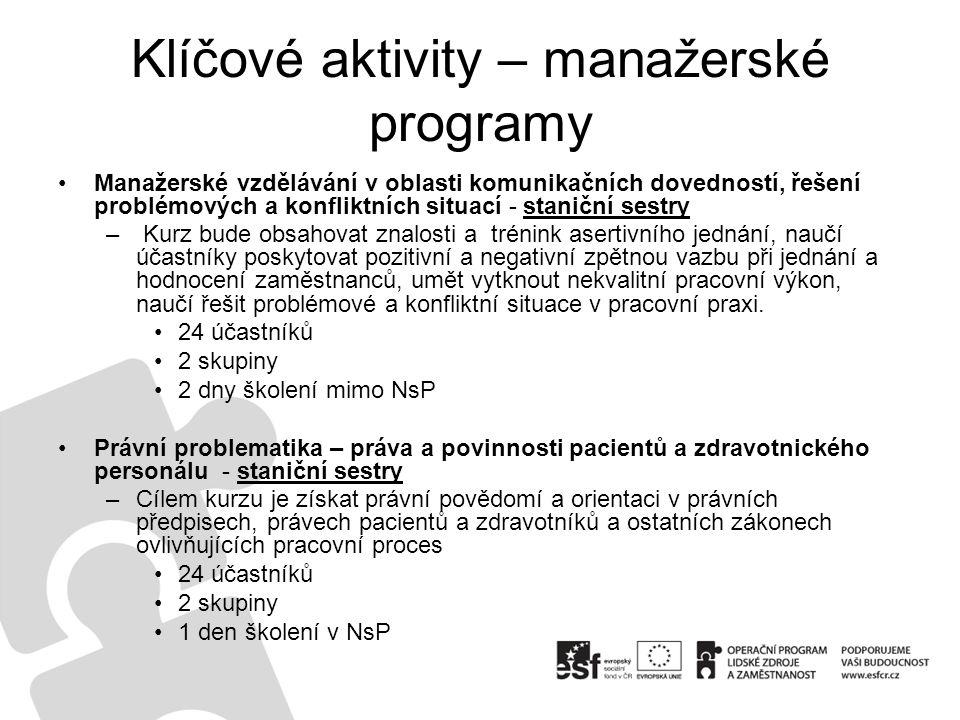 Klíčové aktivity – manažerské programy Manažerské vzdělávání v oblasti komunikačních dovedností, řešení problémových a konfliktních situací - staniční