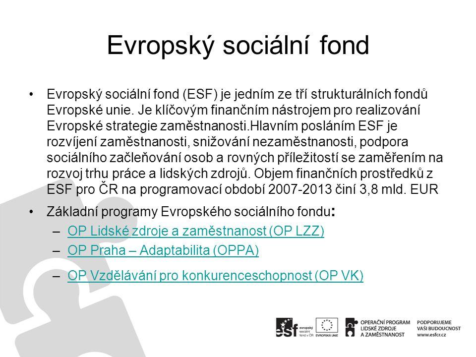 Evropský sociální fond Evropský sociální fond (ESF) je jedním ze tří strukturálních fondů Evropské unie.
