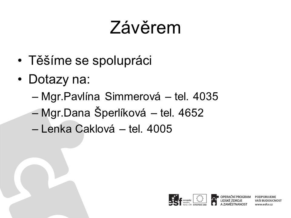 Závěrem Těšíme se spolupráci Dotazy na: –Mgr.Pavlína Simmerová – tel. 4035 –Mgr.Dana Šperlíková – tel. 4652 –Lenka Caklová – tel. 4005