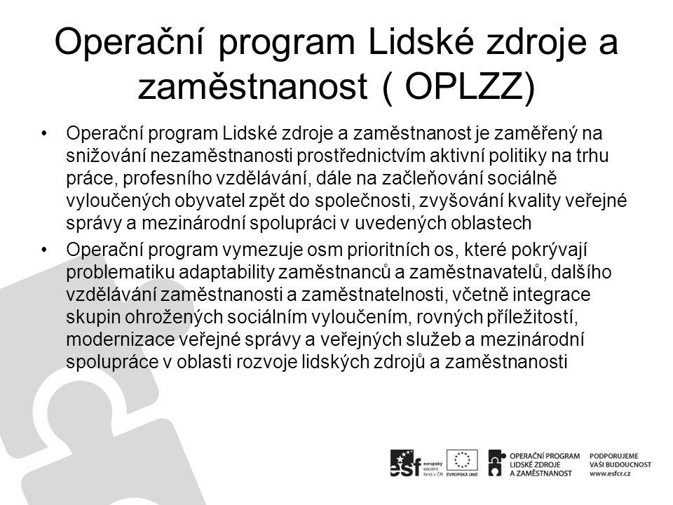 Operační program Lidské zdroje a zaměstnanost ( OPLZZ) Operační program Lidské zdroje a zaměstnanost je zaměřený na snižování nezaměstnanosti prostřednictvím aktivní politiky na trhu práce, profesního vzdělávání, dále na začleňování sociálně vyloučených obyvatel zpět do společnosti, zvyšování kvality veřejné správy a mezinárodní spolupráci v uvedených oblastech Operační program vymezuje osm prioritních os, které pokrývají problematiku adaptability zaměstnanců a zaměstnavatelů, dalšího vzdělávání zaměstnanosti a zaměstnatelnosti, včetně integrace skupin ohrožených sociálním vyloučením, rovných příležitostí, modernizace veřejné správy a veřejných služeb a mezinárodní spolupráce v oblasti rozvoje lidských zdrojů a zaměstnanosti