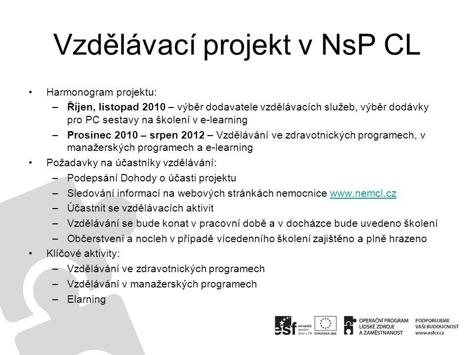 Vzdělávací projekt v NsP CL Harmonogram projektu: –Říjen, listopad 2010 – výběr dodavatele vzdělávacích služeb, výběr dodávky pro PC sestavy na školen