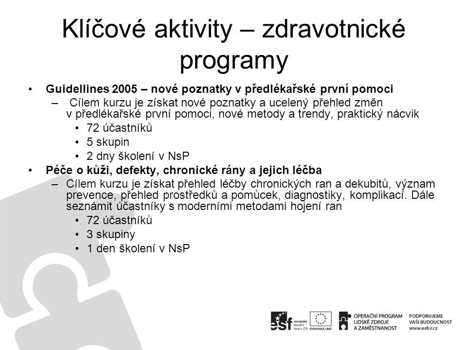 Klíčové aktivity – zdravotnické programy Guidellines 2005 – nové poznatky v předlékařské první pomoci – Cílem kurzu je získat nové poznatky a ucelený