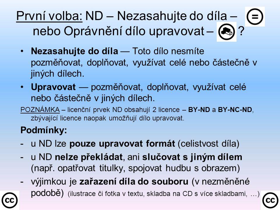 První volba: ND – Nezasahujte do díla –. nebo Oprávnění dílo upravovat – .