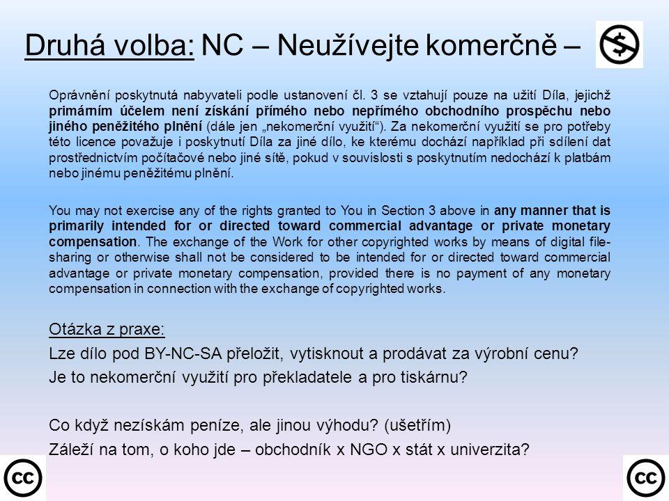 Druhá volba: NC – Neužívejte komerčně –. Oprávnění poskytnutá nabyvateli podle ustanovení čl.