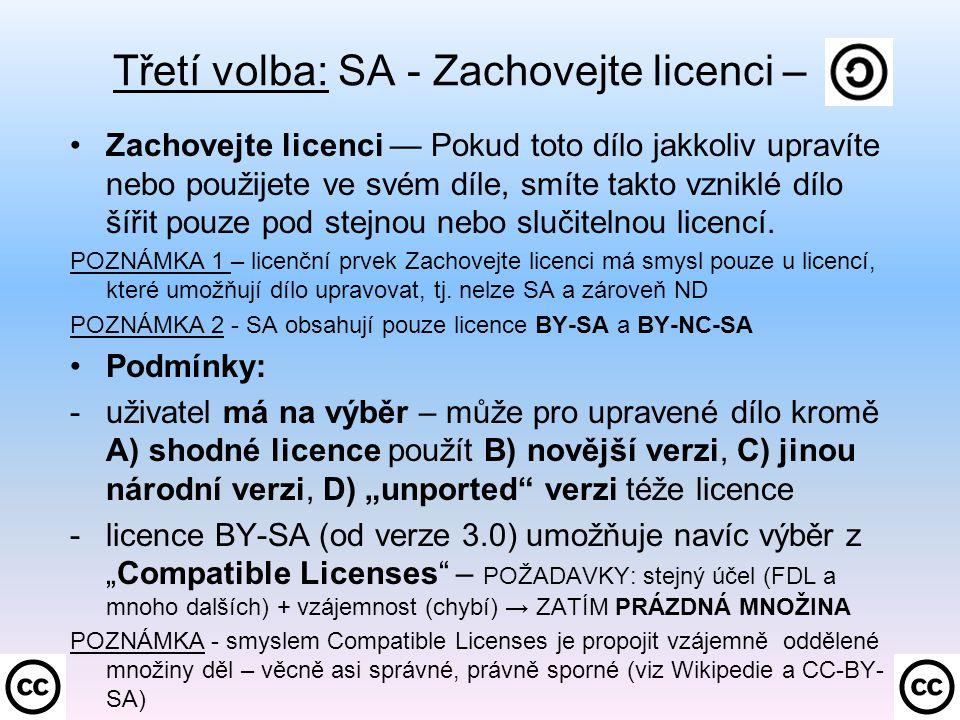 Třetí volba: SA - Zachovejte licenci –.