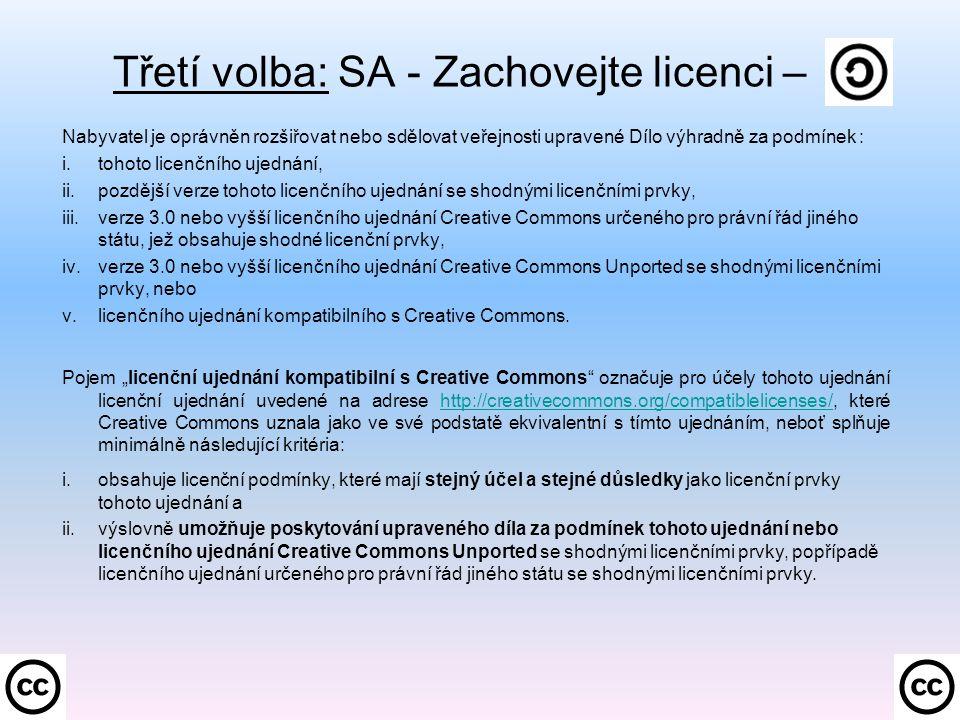 Nabyvatel je oprávněn rozšiřovat nebo sdělovat veřejnosti upravené Dílo výhradně za podmínek : i.tohoto licenčního ujednání, ii.pozdější verze tohoto licenčního ujednání se shodnými licenčními prvky, iii.verze 3.0 nebo vyšší licenčního ujednání Creative Commons určeného pro právní řád jiného státu, jež obsahuje shodné licenční prvky, iv.verze 3.0 nebo vyšší licenčního ujednání Creative Commons Unported se shodnými licenčními prvky, nebo v.licenčního ujednání kompatibilního s Creative Commons.