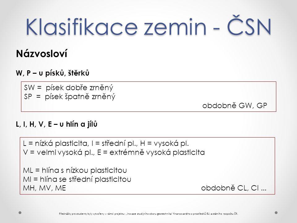 """Klasifikace zemin - ČSN Přednášky pro studenty byly vytvořeny v rámci projektu: """"Inovace studijního oboru geotechnika financovaného z prostředků EU a státního rozpočtu ČR."""